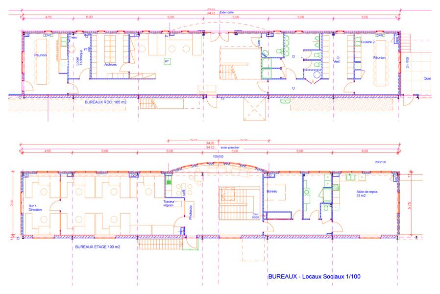 Michel jarthon architecte dplg b timents industriels for Plan de batiment industriel